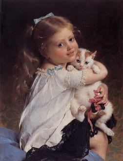 Фото Девочка-шатенка с длинными волосами в белой кофточке и черной юбке прижимает к себе маленького котенка, французский художник Émile Munier / Эмиль Мунье/