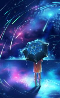 Фото Девочка с зонтом смотрит на метеоритный дождь, by Alluis