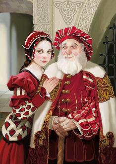 Фото Девушка с темными волосами в красной одежде, положтла руку на плечо старику с седой бородой в красном берете на голове с посохом в рукахСказка о неблагодарном сыне, художник Татьяна Доронина