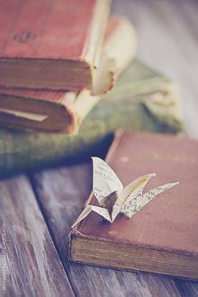 Фото Бумажный журавлик на старой книге, by BronKatzke