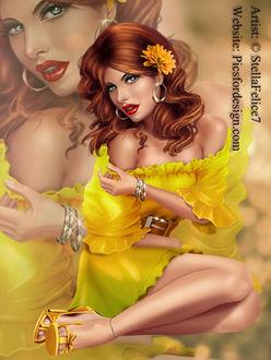 Фото Девушка с цветком в волосах в желтом платье, с оголенными плечами, by StellaFelice7
