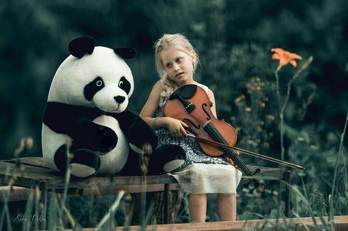 Фото Девочка со скрипкой сидит рядом с игрушечной пандой, фотограф Artur Politov