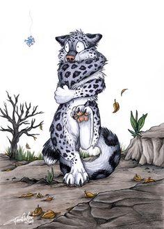 Фото Леопард обнимает себя передними лапами и пританцовывает на задних, пытаясь спастись от холода, by TaniDaReal