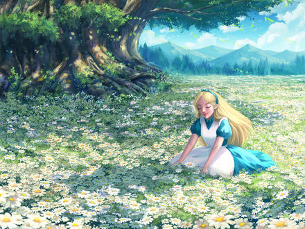 Фото Alice / Алиса из сказки Алиса в Стране Чудес / Alice in Wonderland, сидит на ромашковой поляне, by Zhowee14