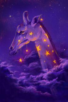 Фото Жираф со звездами на шерсти среди облаков, by Casselloma