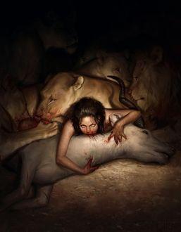 Фото Девушка воспитанная львиным прайдом, впилась зубами в шею антилопы, убитой львами на охоте, by Icon
