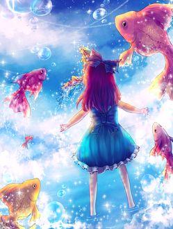 Фото Девочка стоит в воде, в окружении золотых рыб, by Yuumeri
