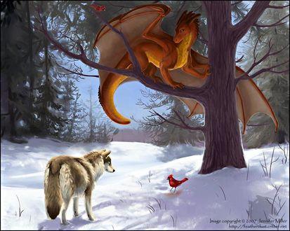 Фото Волк стоит на снегу, смотрит на красную птицу, сидящую под деревом, на ветке которого сидит дракон, by Jeniffer Miller