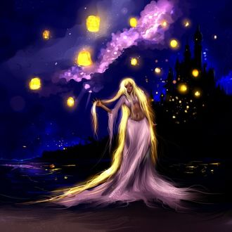 Фото Девушка с длинными огненными волосами стоит на фоне замка, вокруг летают светящиеся фонарики, by Ryky