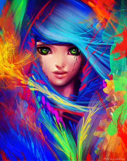Фото Лицо плачущей зеленоглазой девушки с синими волосами, среди разноцветной абстракции, by Ryky