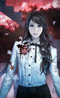Фото Восточная девушка, из которой раскидывая пазлы выбирается монстр