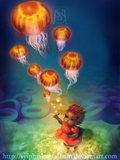 Фото Девочка, стоя на дне моря, пускает мыльные пузыри, которые поднимаясь вверх превращаются в медуз, by Sylphielmetallium