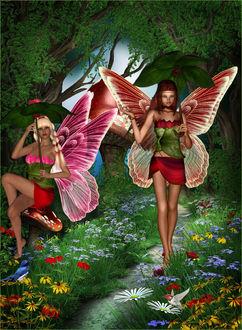 Фото Две девушки-эльфийки, рыжая и блондинка; девушка с рыжими волосами стоит на лесной тропинке, девушка-блондинка сидит на мухоморе, на фоне деревьев и цветов на поляне