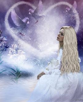 Фото Девушка-блондинка с длинными волосами в белом платье сидит у водоема на фоне сердечка из тумана, белых голубей и и белых лилий