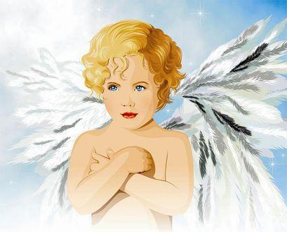Фото Мальчик-ангел со светлыми волосами, голубыми глазами, со сложенными на груди руками
