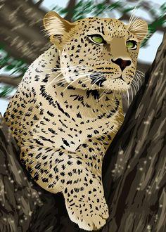 Фото Леопард с зелеными глазами сидит на дереве