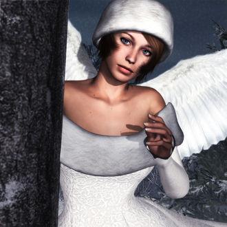 Фото Девушка-ангел в белой шапке в белом платье стоит у ствола дерева