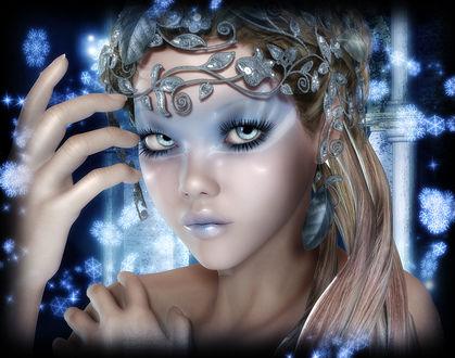 Фото Девушка-эльф со светлыми длинными волосами с тиарой на лбу на фоне снежинок