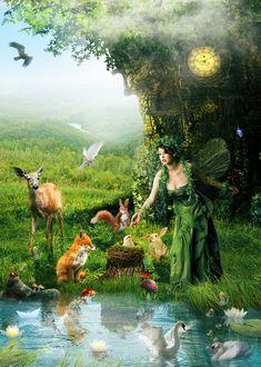 Фото Девушка-эльф с темными волосами в длинном зеленом платье, стоит у водоема под деревом, на дереве висят часы, на поляне у дерева сидит лиса, стоит олень, бегают белки, сидит кролик, на пеньке сидит в гнезде птенец, в водоеме плавают лебеди и рыбки