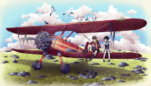 Фото Мальчик с девочкой сидят на крыле самолета, by nuuti