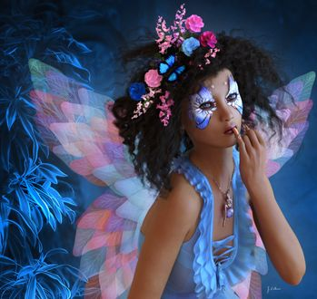 Фото Девушка-эльф с цветами в черных волосах с раскраской у глаз в голубой одежде, by Shaylea