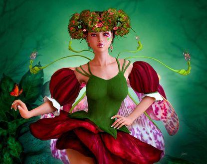 Фото Девушка-эльф с цветочными волосами в одежде в виде розы на фоне бабочки, by Shaylea