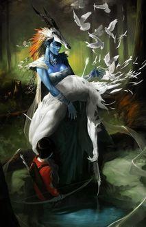 Фото Синяя девушка эльф, c черепом на голове, держит на руках пронизанного стрелой белого мужчину эльфа, который постепенно превращается в белых улетающих ввысь голубей, рядом стоит маленький мальчик с луком, пронизавший стрелой мужчину, by Zano