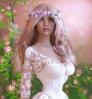 Фото Девушка-эльф в веночке на длинных светлых волосах, в белом платье на размытом фоне цветов, by Shaylea