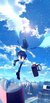 Фото Девушка в школьной форме парит по небу, потеряв тетрадь и сумку, art by Technoheart