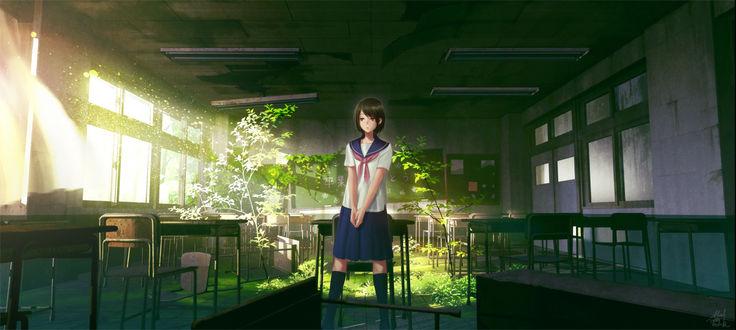 Фото Девушка стоит в заброшенном школьном кабинете, поросшим травой, art by Technoheart