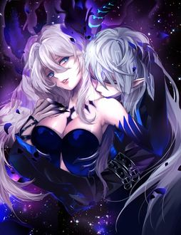 Фото Demonio (Ciel)/Димонио (Сиэль) целует в шею Diabla (Lu)/Диабла (Лу) из игры Elsword, art by Pixiv Id 9376389