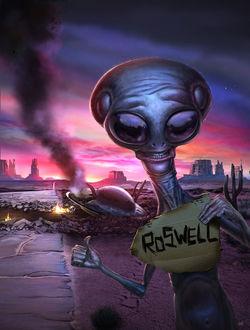 Фото Инопланетянин делает фото на фоне нло, потерпевшего крушение в Roswell / Розвелле, by fubango