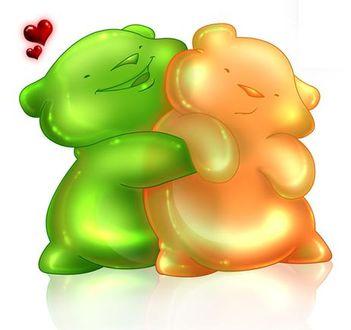 Фото Зеленый медвежонок улыбаясь, с любовью обнимает желтого медвежонка, by Marie Lu
