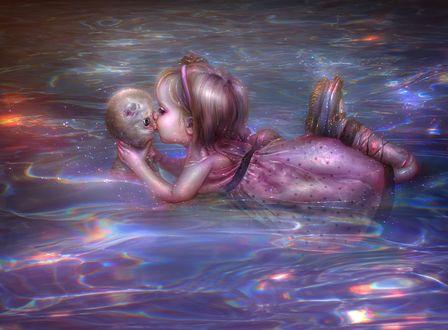 Фото Девочка лежит на воде и держа в руках котенка целует его в носик, by thegirlcansmile