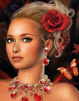 Фото Блондинка с красивыми зелеными глазами с украшением и цветком в волосах на фоне бабочки