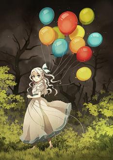 Фото Белокурая девочка с разноцветными воздушными шариками, by Radittz
