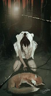 Фото Грустная девушка в медвежьей шкуре стоит на коленях перед телом лисы, by hangiviolett