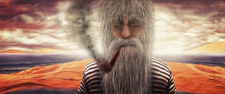 Фото Старик с трубкой во рту, by Anton Karlik