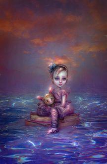 Фото Девочка с котенком плывут по воде на стопке книг, by thegirlcansmile