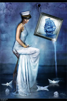 Фото Девушка сидит на стуле в воде на фоне картины
