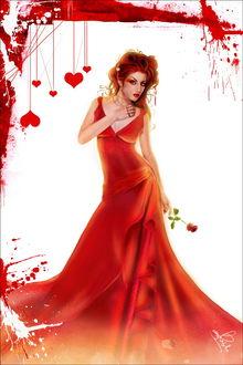 Фото Гламурная девушка в красном платье с розой в руке на фоне сердечек