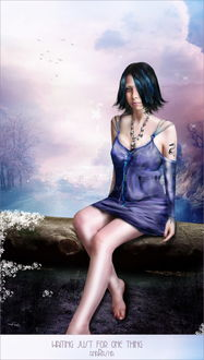 Фото Девушка сидит на бревне на фоне неба и птиц с украшением на шее (Waiting just for one thing)