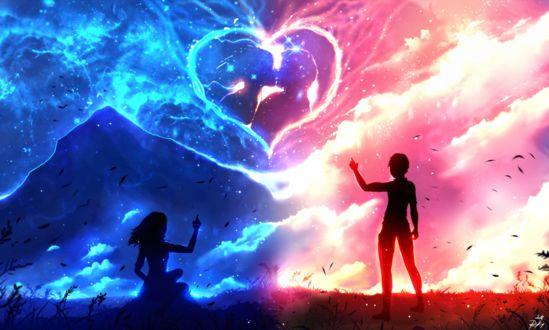 Фото Работа Im Always with You / Я всегда с тобой, парень с девушкой стоят на фоне неба с сердечком, by ryky