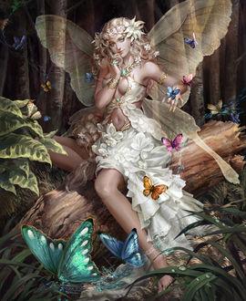 Фото Крылатая эльфийка сидит на бревне в окружении бабочек разной расцветки, by Rakuen