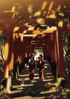 Фото Две девушки-лисички играют на музыкальных инструментах, стоя в коридоре из тории, by 飴村