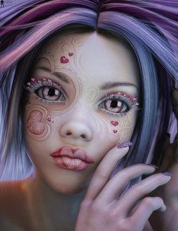 Фото Гламурная девушка с фиолетовыми волосами с сердечками на лице