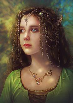 Фото Милая грустная девушка с голубыми глазами в украшениях