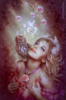 Фото Гламурная девушка с совой на плече на фоне цветов