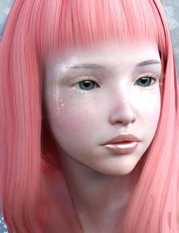Фото Грустная девочка с розовыми волосами