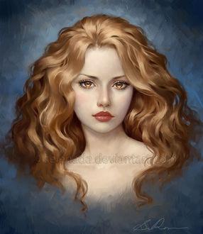 Фото Желтоглазая грустная красавица с помадой на губах